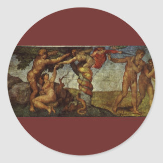 Caída del jardín de Eden, fresco, Miguel Ángel Pegatina Redonda