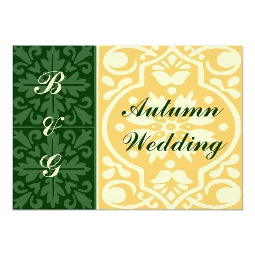 Caída del otoño que casa la invitación verde del invitación 12,7 x 17,8 cm