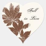 Caída del sello de la hoja en sello del sobre del calcomanía de corazón