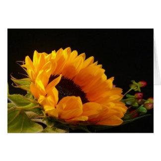 Caída - diseño amarillo del girasol tarjeta de felicitación