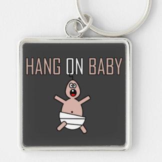 Caída en bebé llavero cuadrado plateado