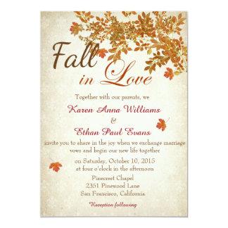 Caída en la invitación rústica del boda del amor
