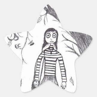 caída espeluznante pegatina en forma de estrella