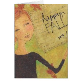 Caída feliz usted Notecard Tarjeta Pequeña