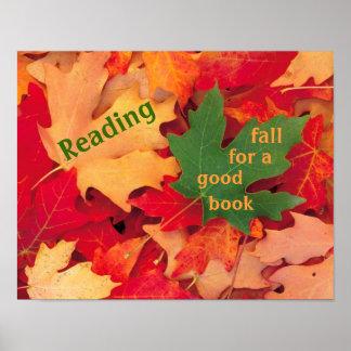 Caída para un buen poster de la lectura del libro póster