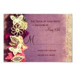 Caída púrpura de las hojas rústicas que casa las invitación 8,9 x 12,7 cm