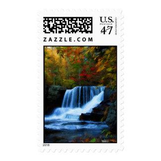 Caídas coloridas de la fábrica, pintura de la timbres postales