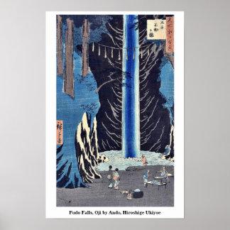 Caídas de Fudo, Oji por Ando, Hiroshige Ukiyoe Póster