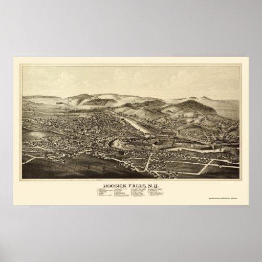 Caídas de Hoosick, mapa panorámico de NY - 1889 Póster