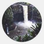 Caídas del arco iris - Hilo, Hawaii Pegatina Redonda