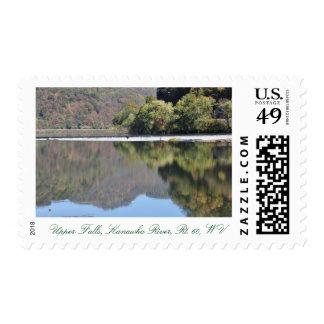 Caídas, el río Kanawha, Rt. 60, sello de WV