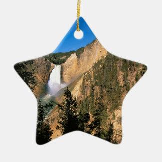 Caídas más bajas Wyoming de Yellowstone Adorno Navideño De Cerámica En Forma De Estrella