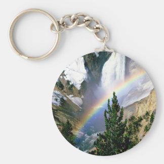 Caídas más bajas Yellowstone del arco iris Llavero Redondo Tipo Pin