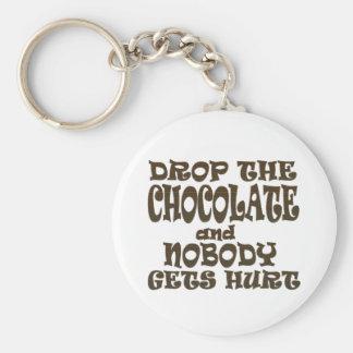 caiga el chocolate y nadie consigue daño llaveros personalizados