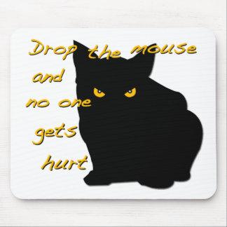 ¡Caiga el ratón! ¡El gato negro está en el reloj! Alfombrillas De Ratón