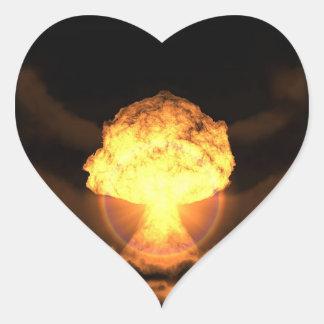 Caiga la bomba pegatina en forma de corazón