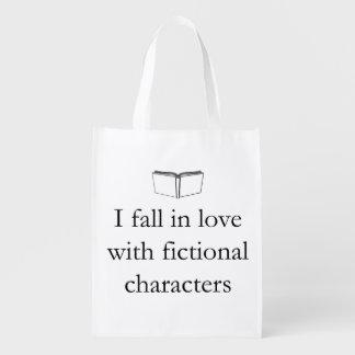 Caigo en amor con los caracteres ficticios bolsa reutilizable