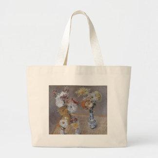 Caillebotte cuatro floreros de crisantemos bolsa tela grande