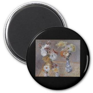 Caillebotte cuatro floreros de crisantemos imán redondo 5 cm