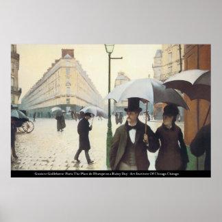Caillebotte - Place de l'Europe on a Rainey Day Print