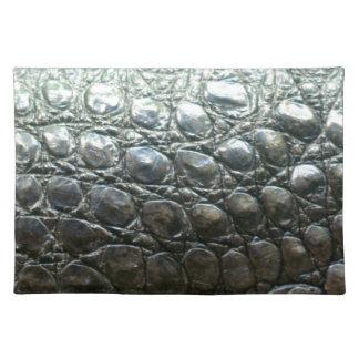 Caiman Crocodile Faux Alligator-Skin Design Cloth Placemat