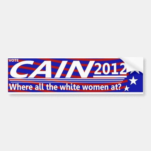 CAÍN 2012 - ¿En dónde todas las mujeres blancas? Pegatina De Parachoque