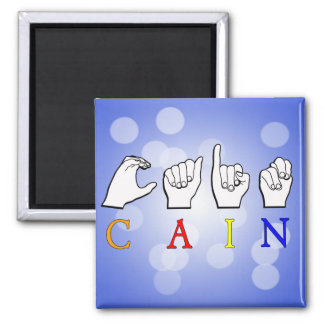 CAIN NAME FINGERSPELLED ASL SIGN 2 INCH SQUARE MAGNET