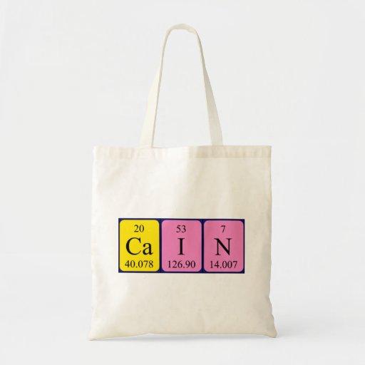 Cain periodic table name tote bag