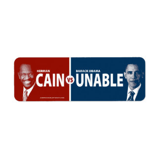 CAIN vs UNABLE Herman Cain Small Stickers Label