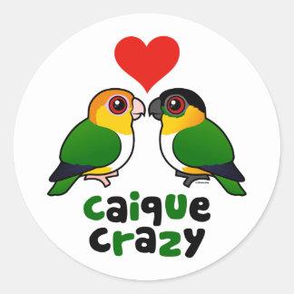 Caique Crazy Classic Round Sticker