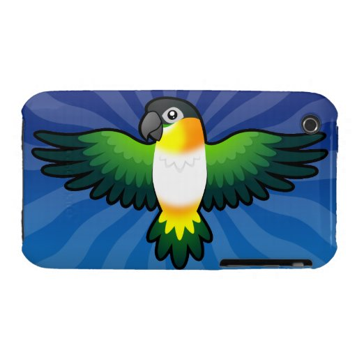 Caique/Lovebird/Pionus/loro del dibujo animado iPhone 3 Case-Mate Cárcasa