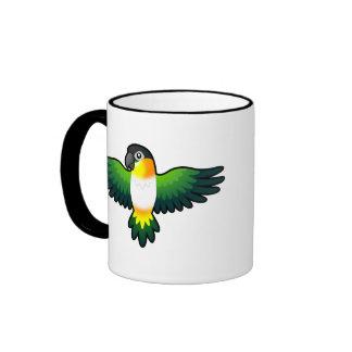 Caique/Lovebird/Pionus/loro del dibujo animado Taza De Dos Colores