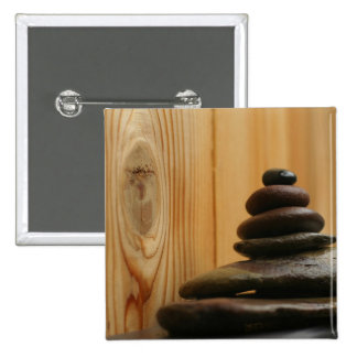 Cairn Meditation Stones and Wood 2 Inch Square Button