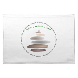Cairn stacked stone placemat