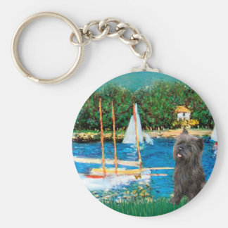 Cairn Terrier (Brindle 21) - Sailboats Keychain