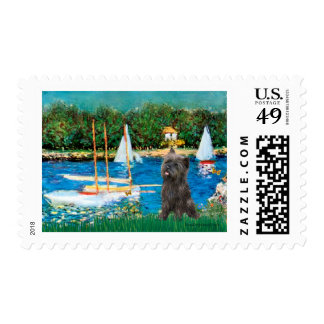 Cairn Terrier (Brindle 21) - Sailboats Stamp