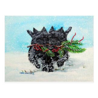 Cairn Terrier Christmas Postcard