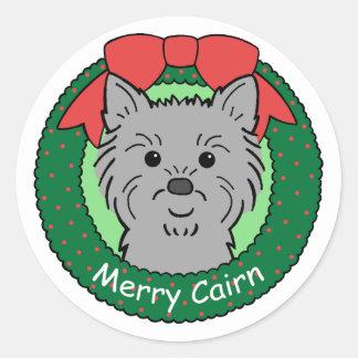 Cairn Terrier Christmas Round Sticker