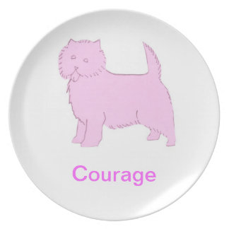 Cairn Terrier Courage Cancer Awareness Plate