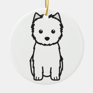 Cairn Terrier Dog Cartoon Double-Sided Ceramic Round Christmas Ornament