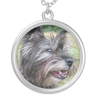 Cairn Terrier dog necklace, gift idea Silver Plated Necklace