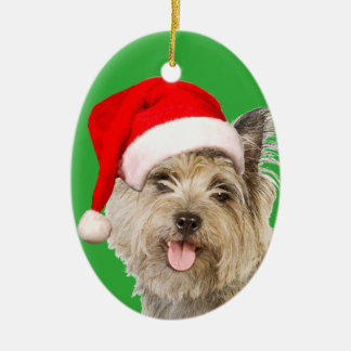 Cairn Terrier Double-Sided Oval Ceramic Christmas Ornament
