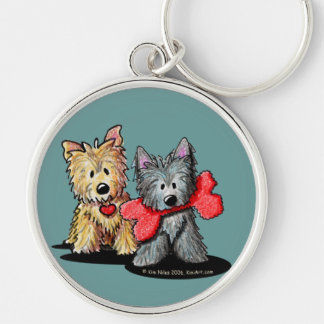 Cairn Terrier Duo Silver-Colored Round Keychain