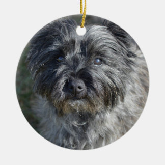 Cairn Terrier Face Double-Sided Ceramic Round Christmas Ornament