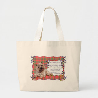 Cairn Terrier Happiness Verse Large Tote Bag