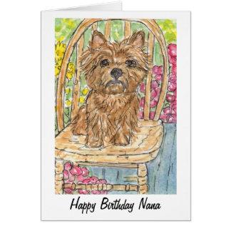 Cairn Terrier Happy Birthday Nana Card watercolour