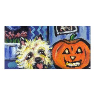 Cairn Terrier investigates glowing pumpkin Card