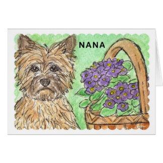 Cairn Terrier Nana Birthday Card basket of flowers