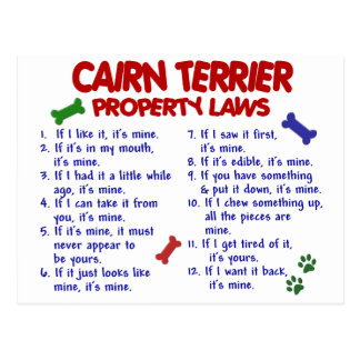 CAIRN TERRIER Property Laws 2 Postcard