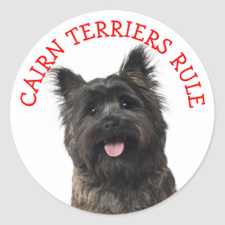"""Cairn Terrier Puppy Dog  """"CAIRNS RULE"""" Stickers"""